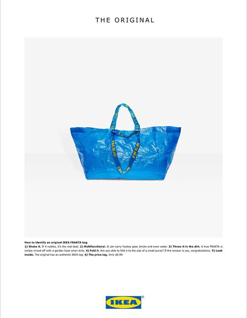 IKEA'nın yaratıcı ajansı Acne'nin hazırladığı çanta paylaşımı